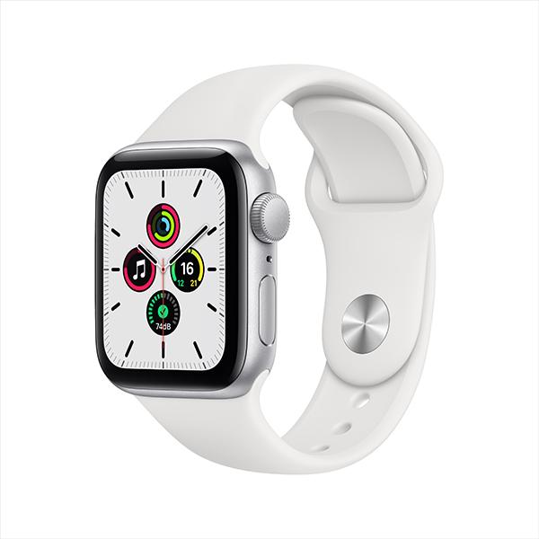 [Apple] 애플워치 SE GPS, 40mm 실버 알루미늄 케이스 & 화이트 스포츠 밴드 - MYDM2KH/A