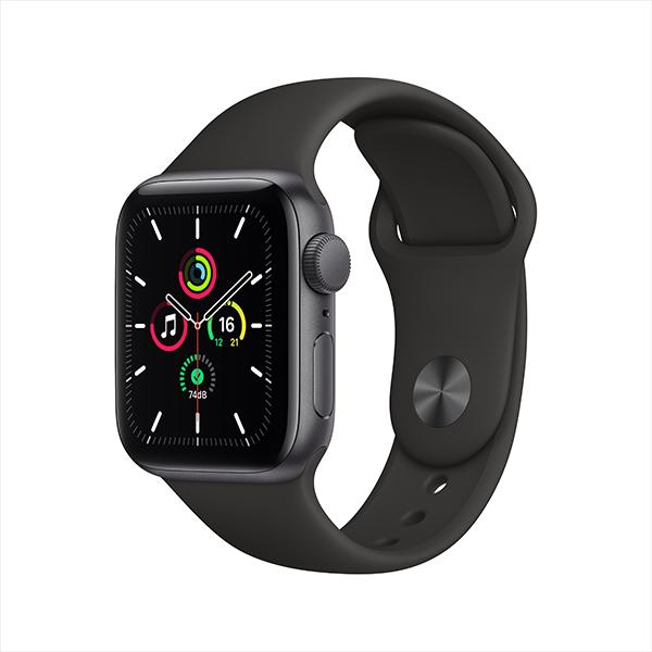 [Apple] 애플워치 SE GPS, 40mm 스페이스 그레이 알루미늄 케이스 & 블랙 스포츠 밴드 - MYDP2KH/A