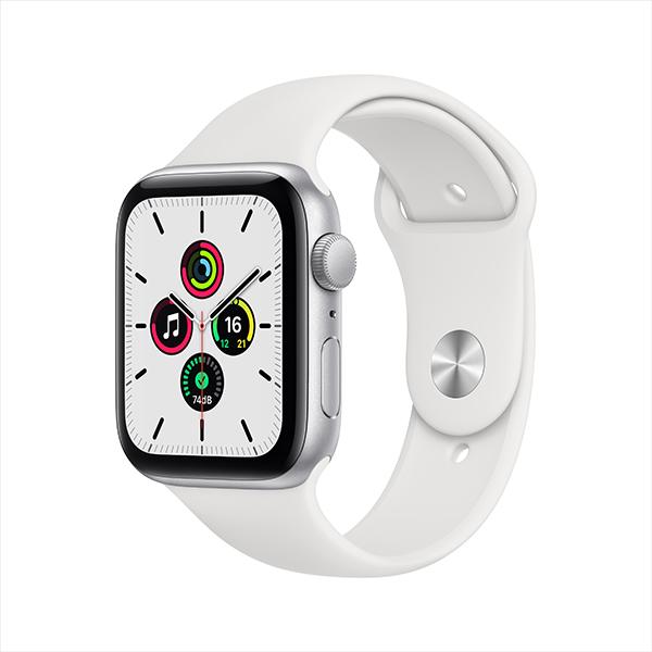 [Apple] 애플워치 SE GPS, 44mm 실버 알루미늄 케이스 & 화이트 스포츠 밴드 - MYDQ2KH/A
