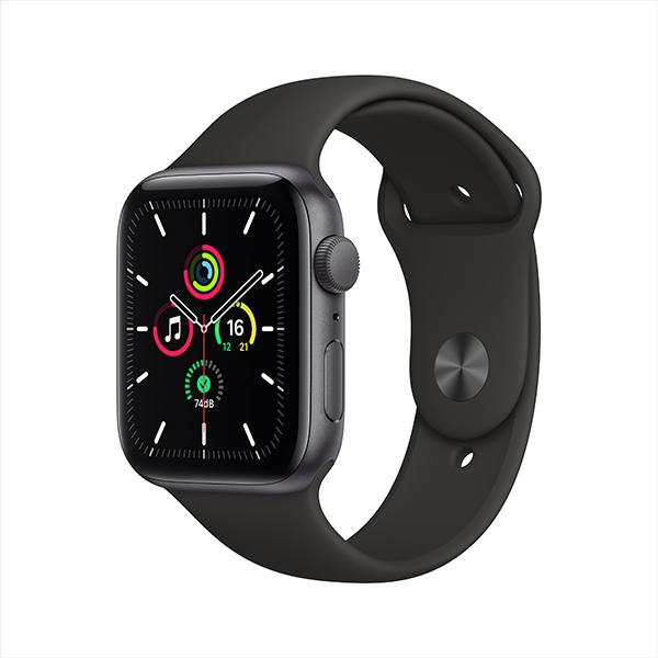 [Apple] 애플워치 SE GPS, 44mm 스페이스 그레이 알루미늄 케이스 & 블랙 스포츠 밴드 - MYDT2KH/A